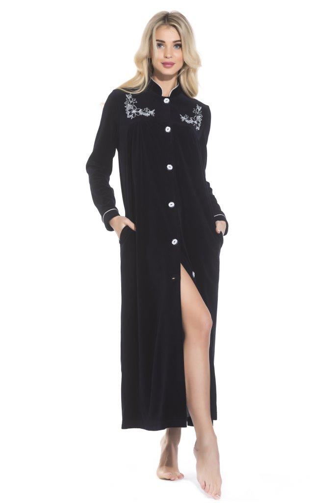 АВРОРА велюровый халат на пуговицах (черный)