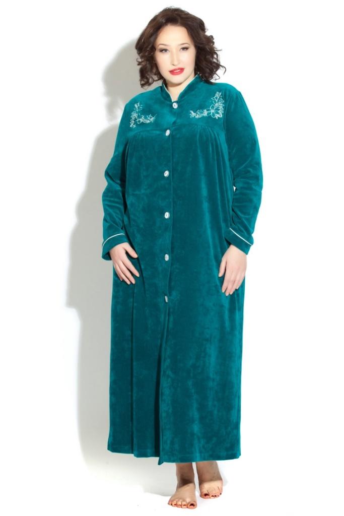 АВРОРА велюровый халат на пуговицах (изумруд)