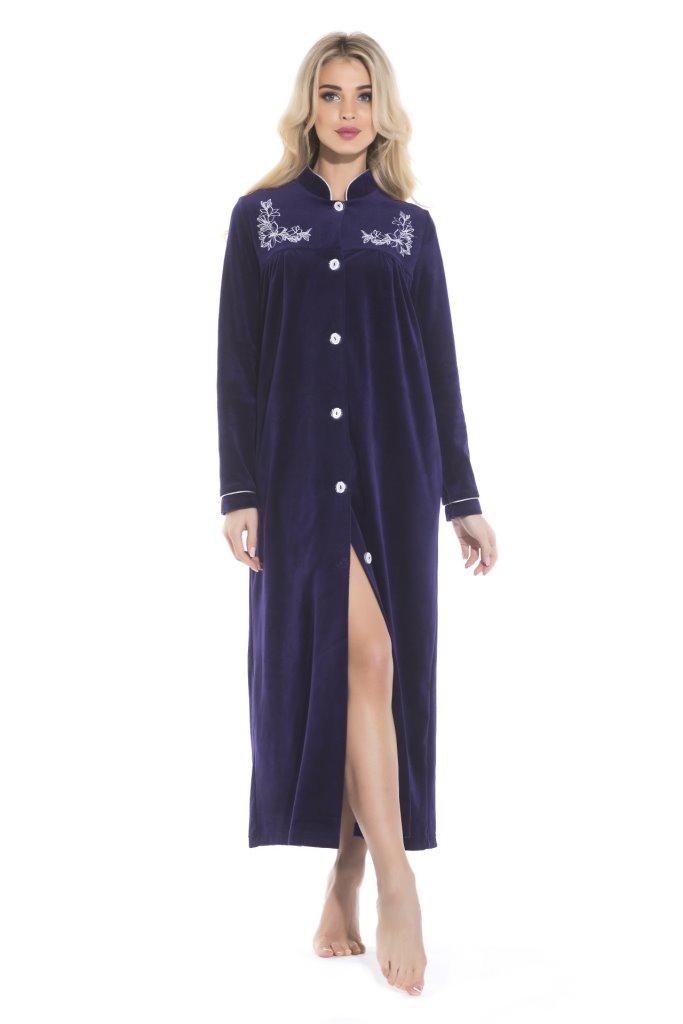 АВРОРА велюровый халат на пуговицах (синий)
