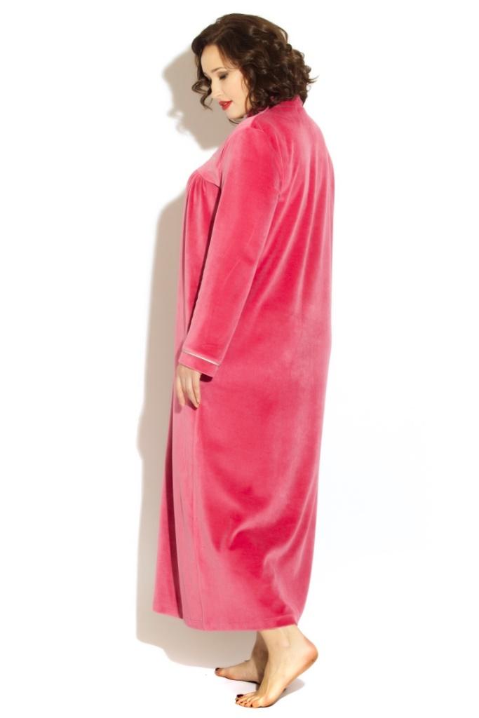 АВРОРА велюровый халат на пуговицах (сухая роза)