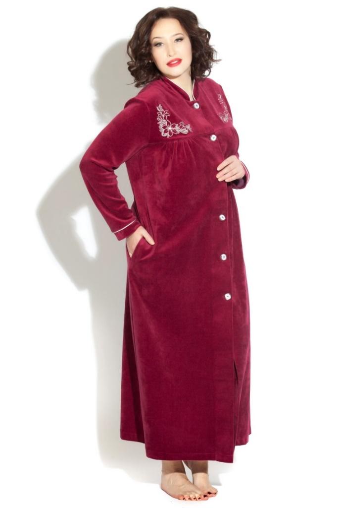 АВРОРА велюровый халат на пуговицах (темная вишня)
