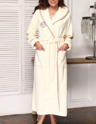 Juliette (крем) женский бамбуковый халат с капюшоном