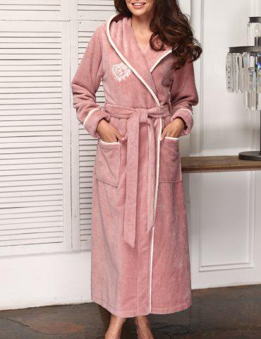 Juliette (сухая роза) женский бамбуковый халат с капюшоном