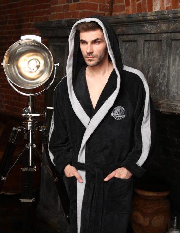 Adventure мужской халат с капюшоном (антрацит)