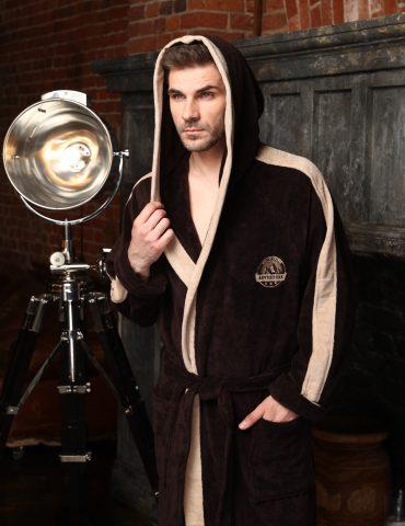 Adventure мужской халат с капюшоном (шоколад)