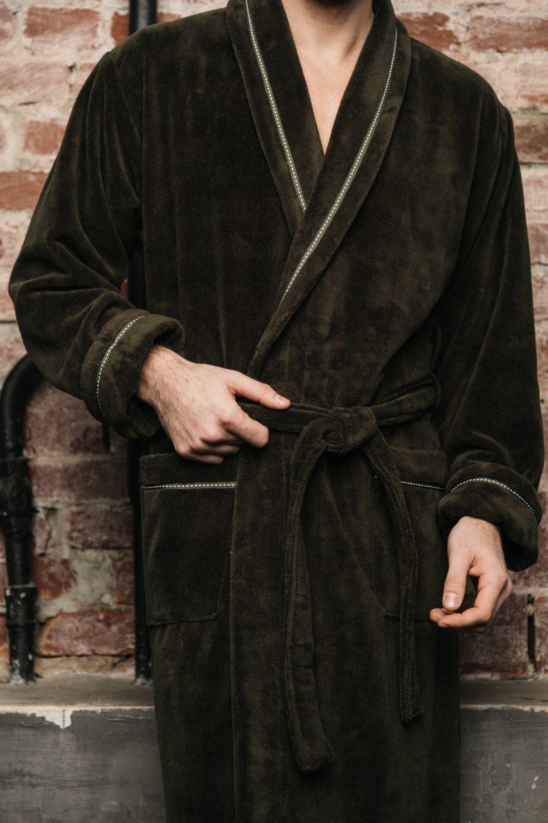 Daniel (хаки) классический бамбуковый халат
