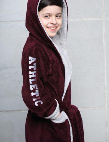 Athletic Junior (бордо) подростковый бамбуковый халат