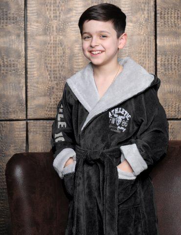 Athletic Junior (антрацит) подростковый бамбуковый халат