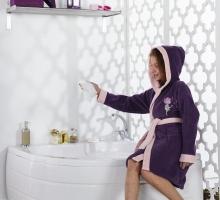 Халат подростковый с капюшоном SNOP (фиолетовый)