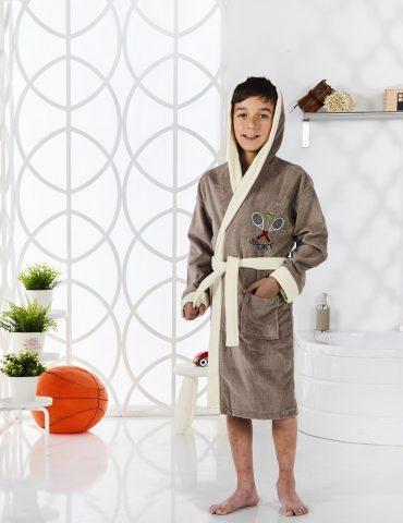 Халат подростковый с капюшоном SNOP (кофейный)
