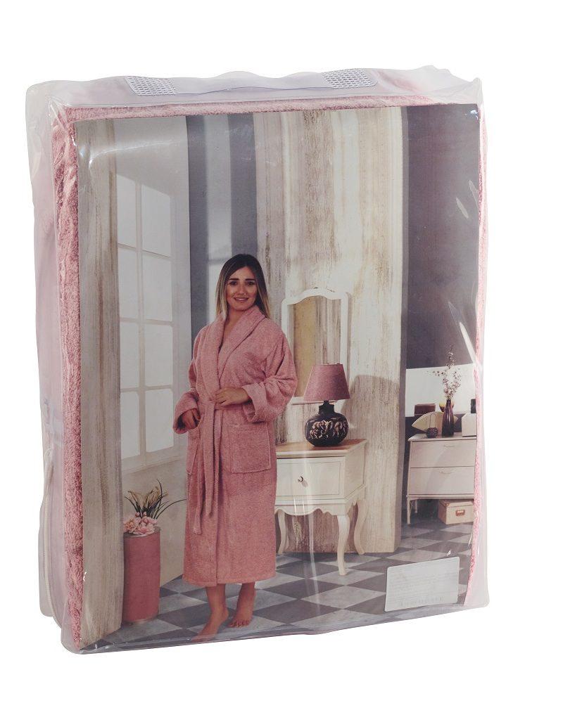 Халат женский махровый BASIC (Грязно-розовый)