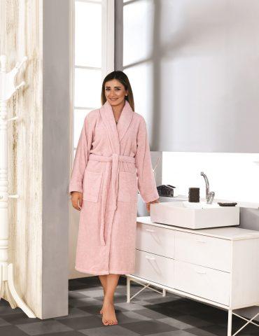 Халат женский махровый BASIC (Розовый)