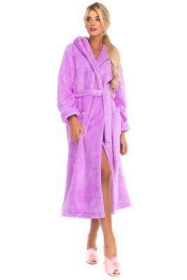Удлиненный пушистый халат с капюшоном Moderne (сиреневый)