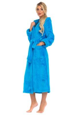 Удлиненный пушистый халат с капюшоном Moderne (бирюзовый)
