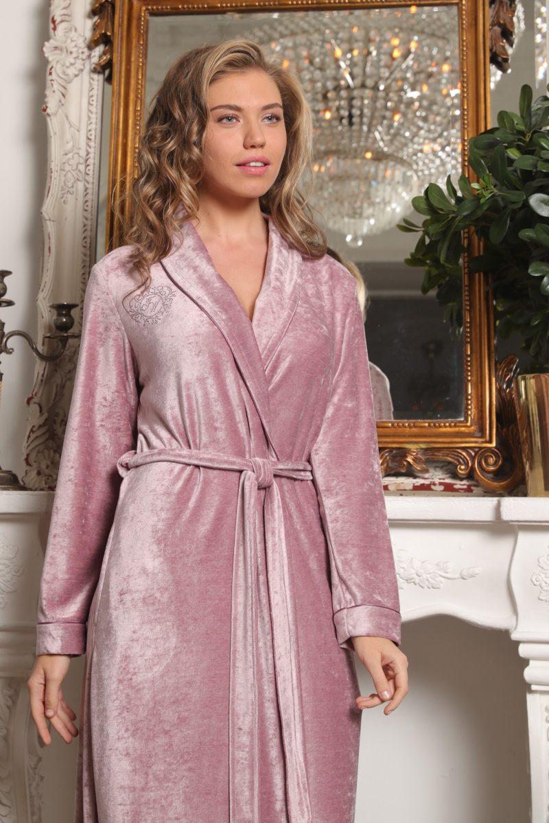 Antoinette (пудра) женский велюровый халат