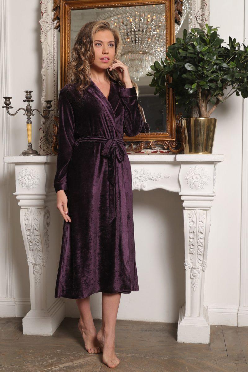 Antoinette (слива) женский велюровый халат