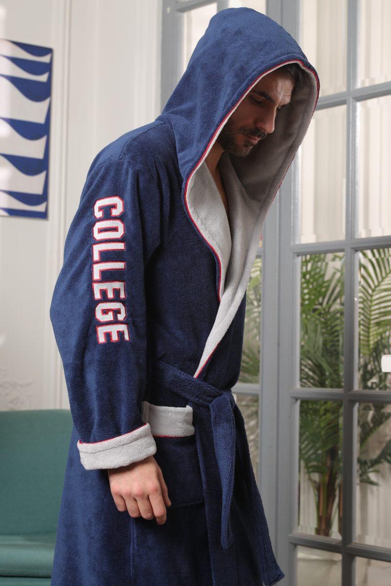 College (джинс) мужской халат с капюшоном