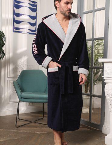 College(синий)мужской халат с капюшоном