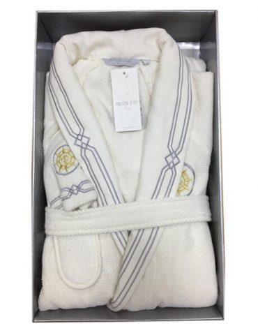 Махровый халат с тапочками ELEGANZE MARINE (крем)