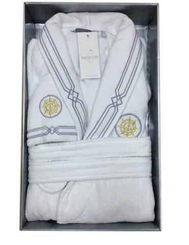 Махровый халат с тапочками ELEGANZE MARINE (белый)