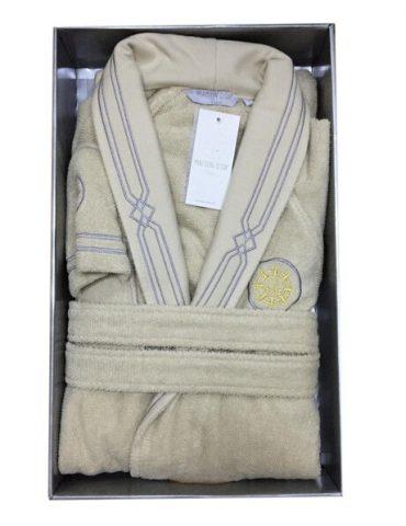 Махровый халат с тапочками ELEGANZE MARINE (бежевый)