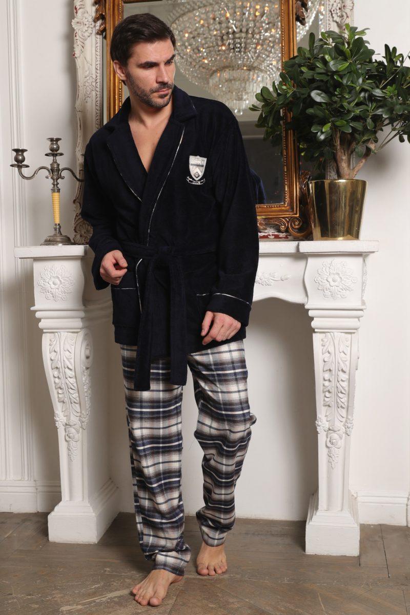 Мужской комплект халат-пиджак с брюками Arsenal-I (синий)
