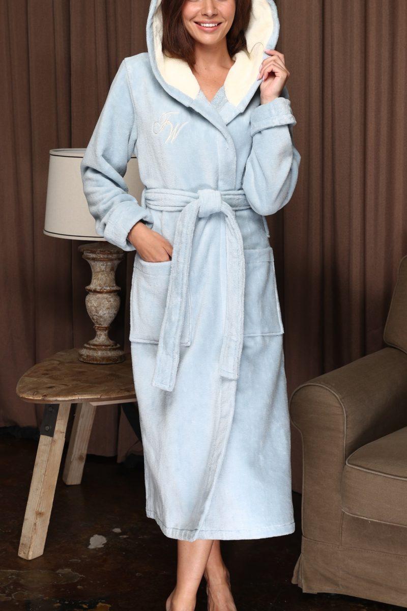 Violetta (голубой) женский мягкий халат