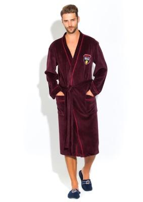 Велюровый халат VELVET (бордо)