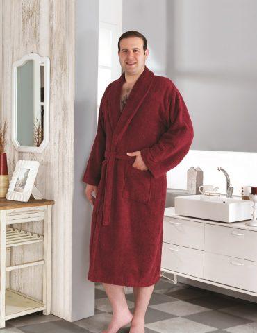Классический махровый халат SMART (Бордовый)