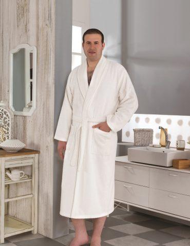 Классический махровый халат SMART (Кремовый)