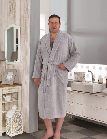 Классический махровый халат SMART (Серый)