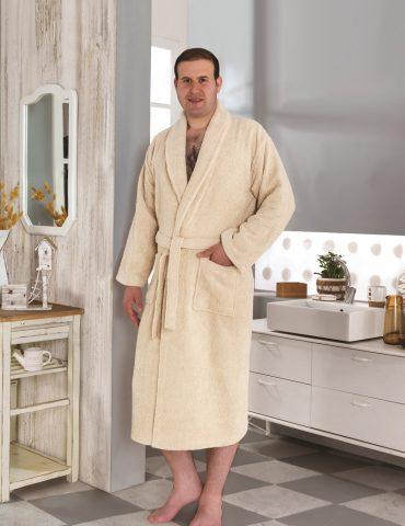 Классический махровый халат SMART (Светло-бежевый)