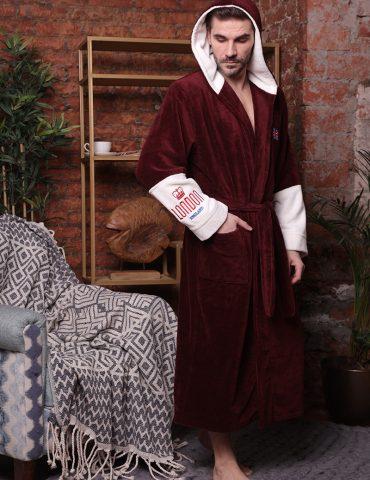London City (Bordo) мужской халат с капюшоном