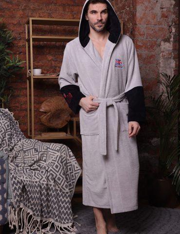 London City (Silver) мужской халат с капюшоном