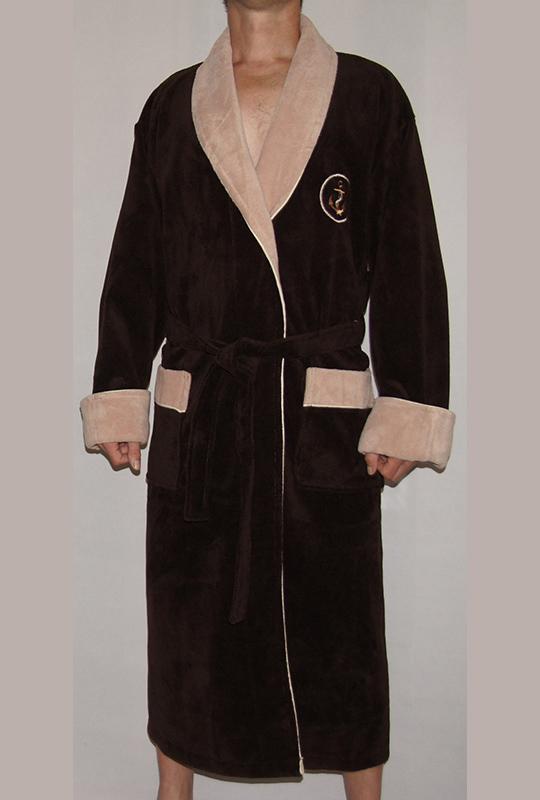 Мужской махровый халат Lamar (коричневый)