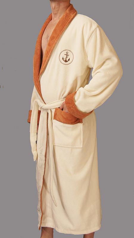 Мужской махровый халат Lamar (крем)