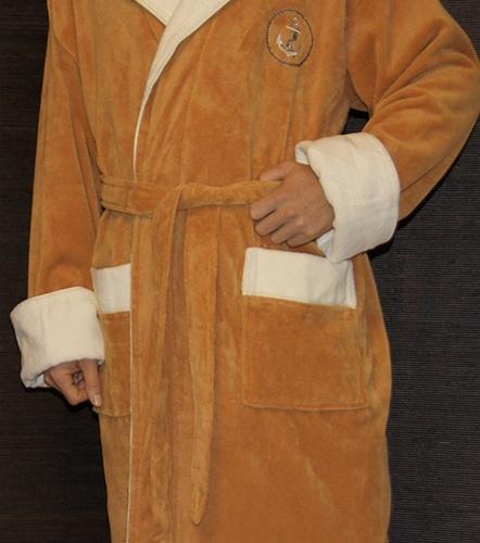 Мужской с капюшоном махровый халат Lamar (песочный)