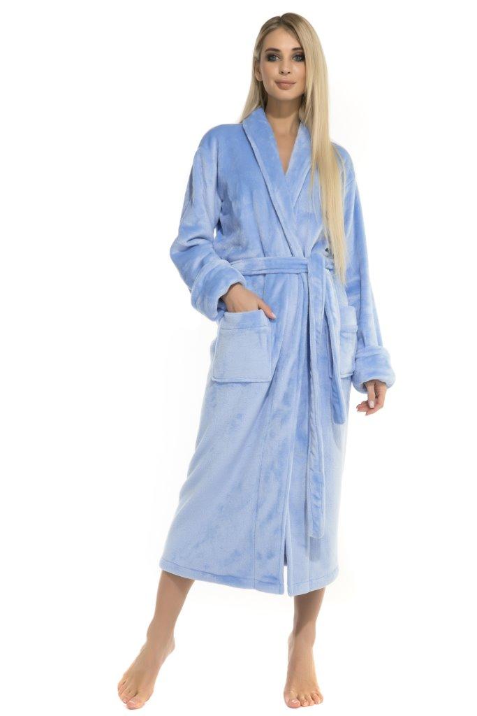 Удлиненный пушистый халат Moderne (голубой) без капюшона