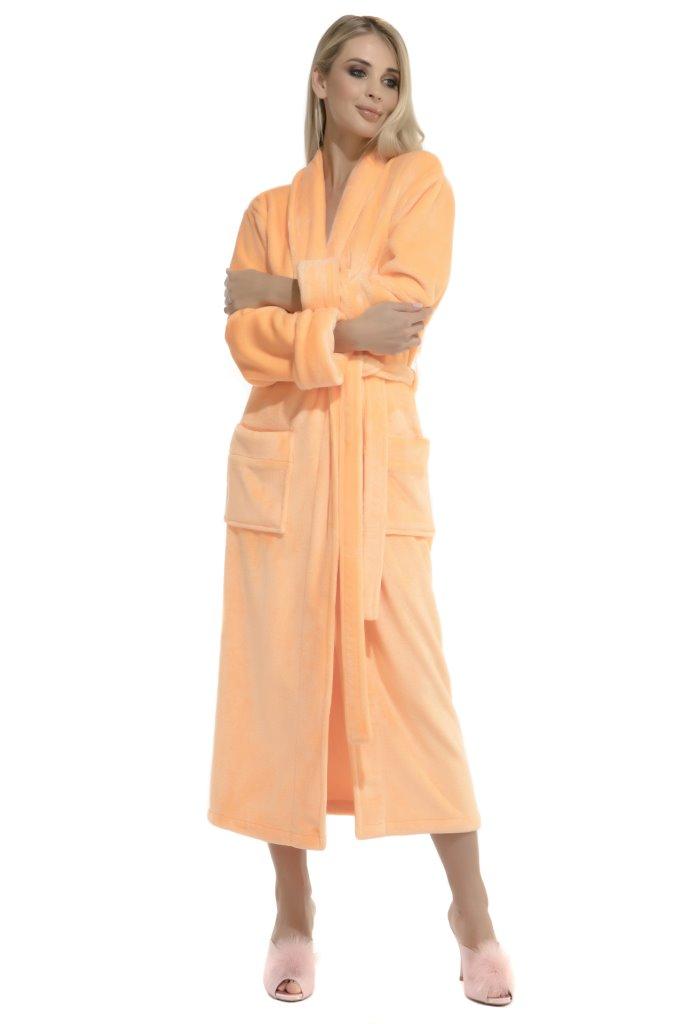 Удлиненный пушистый халат Moderne (персик) без капюшона