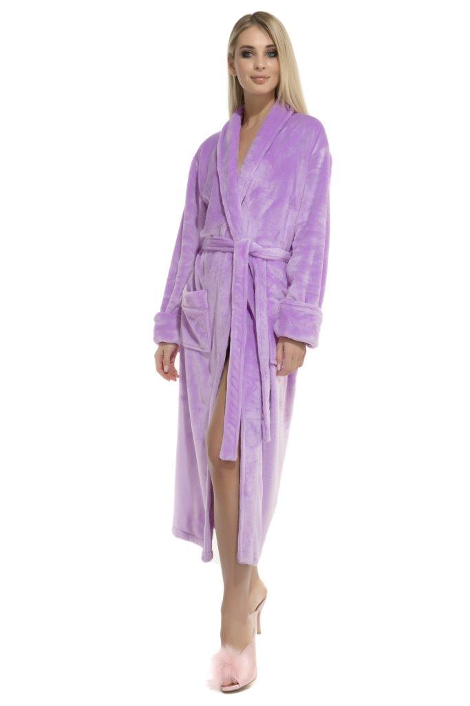Удлиненный пушистый халат Moderne (сиреневый) без капюшона
