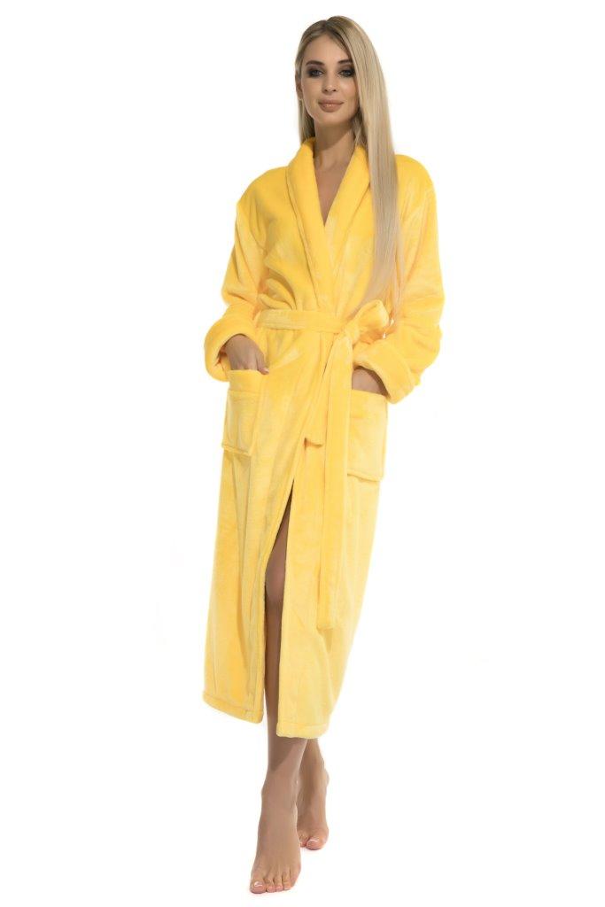 Удлиненный пушистый халат Moderne (желтый) без капюшона