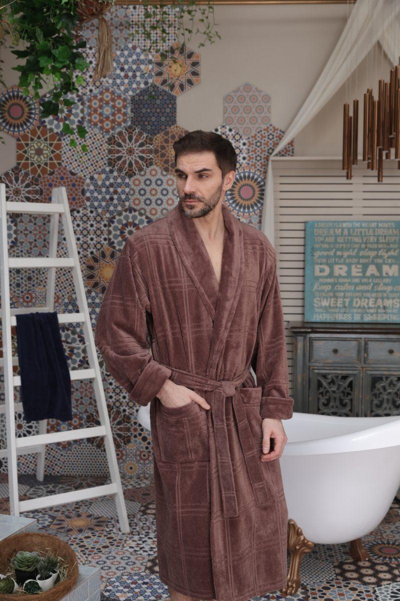 Comfort (Latte) классический мужской халат