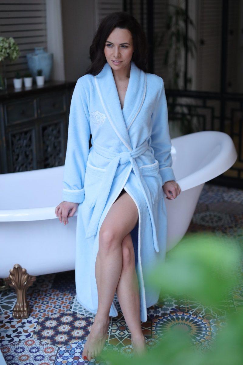 Juliette (голубой) женский бамбуковый халат без капюшона