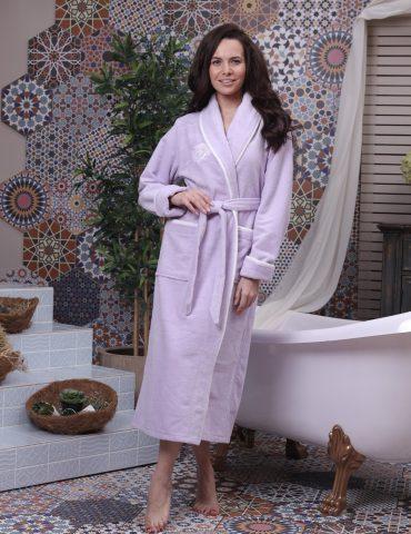Juliette (лиловый) женский бамбуковый халат без капюшона