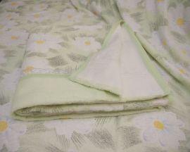 Махровая простынь - Ромашка 180х220 см (зеленый)