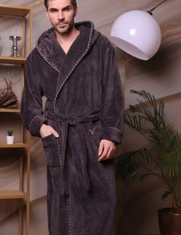 Zevs (антрацит) мужской халат с капюшоном
