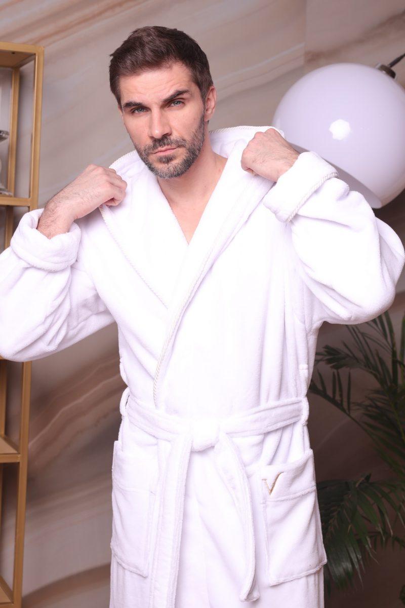 Zevs (белый) мужской халат с капюшоном