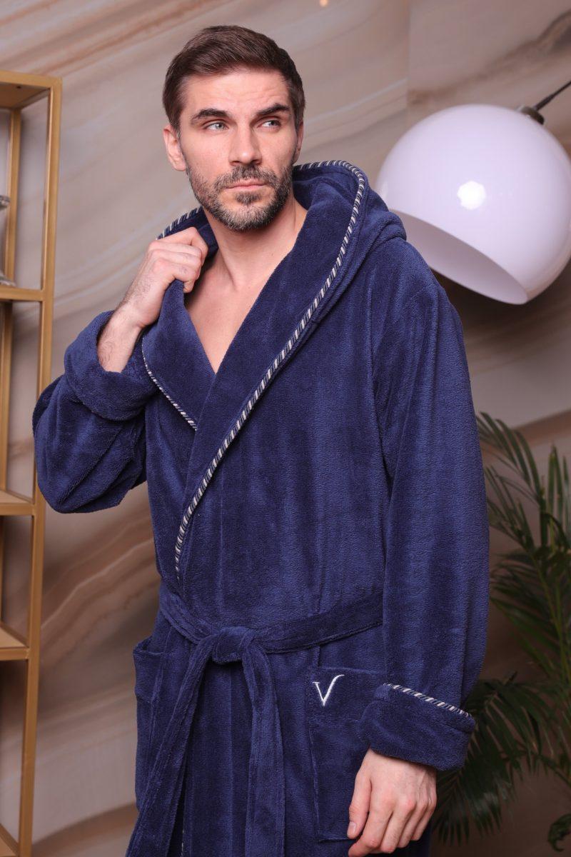 Zevs (джинс) мужской халат с капюшоном
