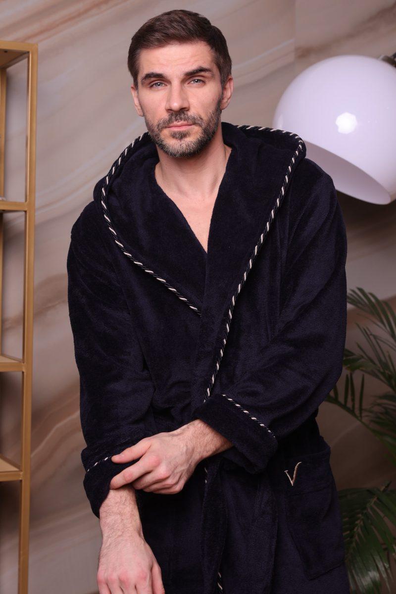 Zevs (синий) мужской халат с капюшоном
