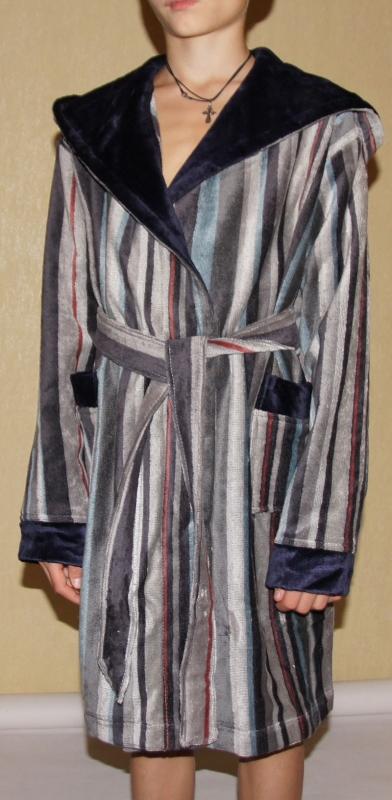 Детский махровый халат с капюшоном POLO серый (9-10 лет)